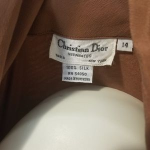 Dior Tops - VTG Christian Dior Tan Silk Button Down Top / 14
